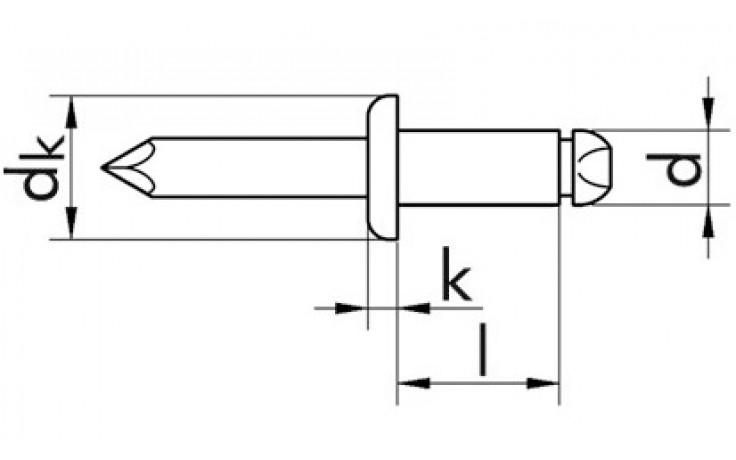 RECA- Blindniete Flachrundkopf Stahl mit Stahl-Dorn 3,2 x 10 mm