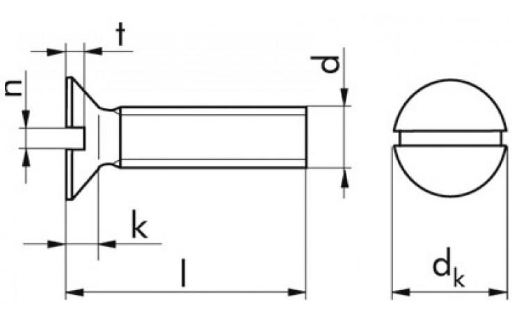 Senkschrauben DIN 963 Messing vernickelt 4 x 45