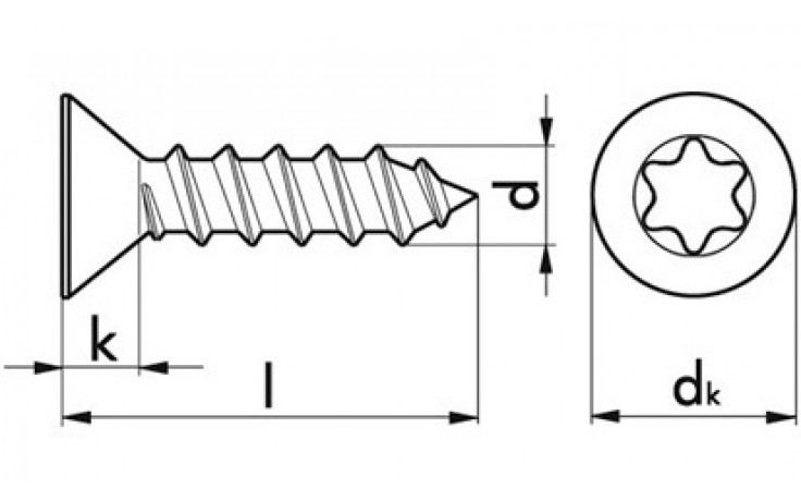 Senkkopfschrauben 3,9 x 13 ISO 14586 TX15 Edelstahl rostfrei A2