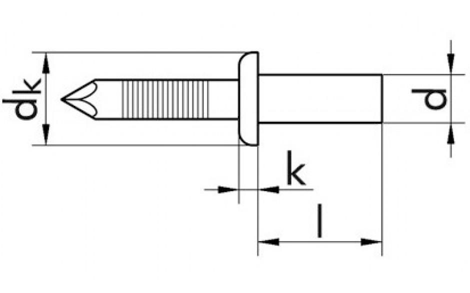 Becherniete ISO 16585 - Flachkopf - A2/A2 - 3,2 X 6 - Klemmbereich 0,5 - 1,5