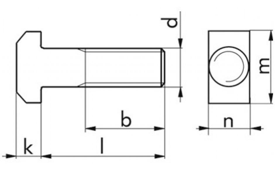 Hammerschraube DIN 188 - 4.6 - verzinkt blau - M10 X 80