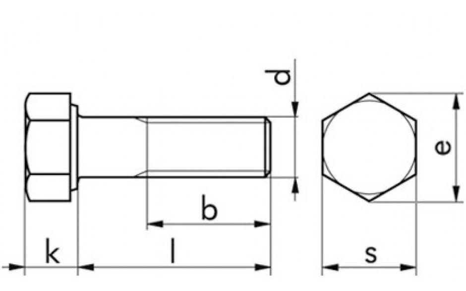Sechskantschraube mit Schaft DIN 931 / ISO 4014 Edelstahl A2-70 M 6 x 45 mm
