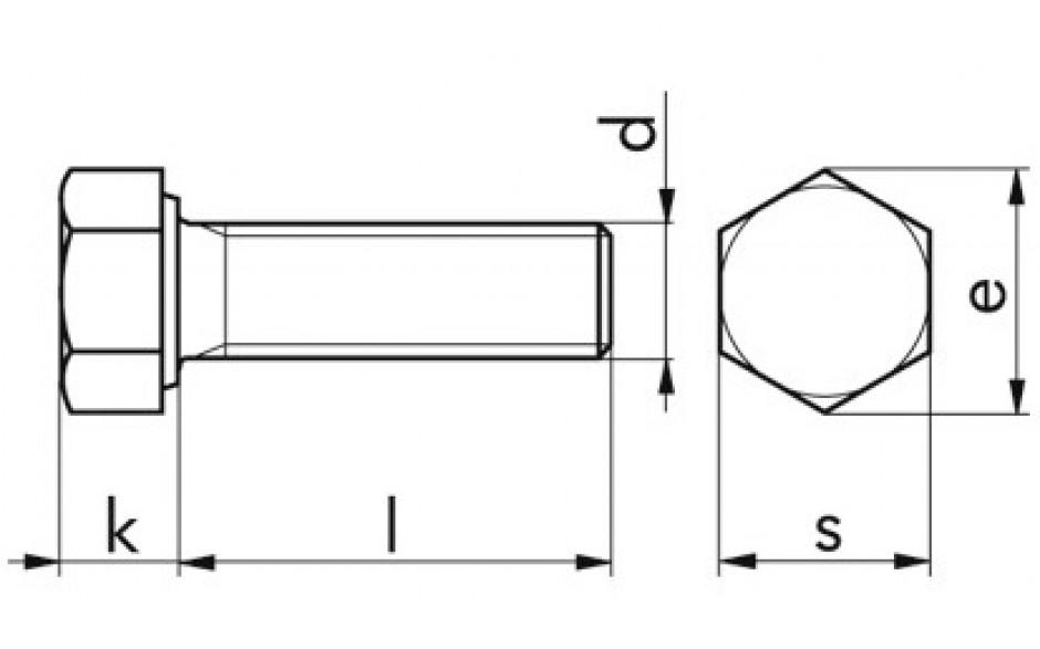 Sechskantschrauben M16 x 100 DIN 933 (ISO 4017) FKL 12.9 blank